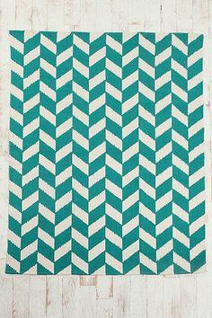 teal herringbone rug