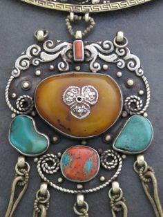 Antique Tibetan Necklace, Amber, turquoise, coral pendant