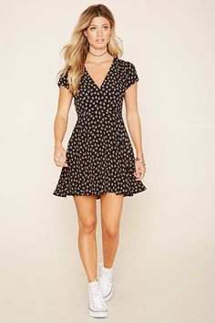 Floral Print Mini Dress Forever 21 2000202820 is part of Dresses - Dress Outfits, Casual Dresses, Fashion Dresses, Girls Dresses, Summer Dresses, Floral Dresses, Wrap Dress Outfit, Wrap Dresses, Dresses Dresses