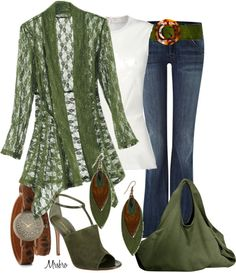 """""""Jeans and Greens"""" by mrsbro ❤ liked on Polyvore"""