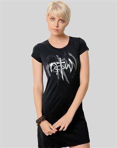 Edgy Grunge T-Shirt Dress - Christian Womens Fashiontops for $21.99 | C28.com