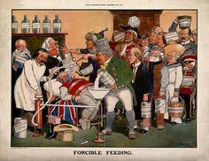 1913.John Bull being force-fed via a stomach pump, by a queue of people; satirizing Britain's numerous political problems. Colour photomechanical reproduction after S. Pritchard,