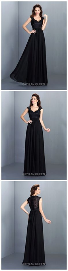 2015 Scoop Sleeveless A-line/Princess Lace Long Chiffon Evening Dress @dylanqueen
