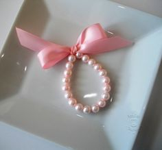 Valentines Day Little Girl Pink Pearl Bracelet with Satin Ribbon for babies 1st pearls, flower girls. Great 1st birthday gift