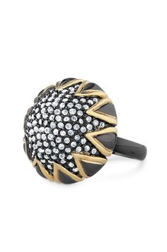 Starstruck Pave Cocktail Ring. Cocktail ring of Czech glass stones set in two-tone shiny gold and hematite plated bronze.