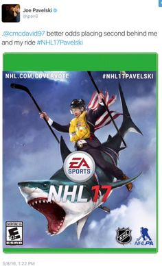 Lovin' these campaigns by the nominated players for the cover of NHL 17. Joe Pavelski, America, San Jose Sharks. Hockey. LOL!  EA Sports.  Connor McDavid. Edmonton Oilers. Canada.