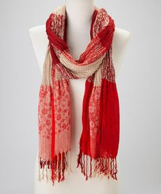 Take a look at this Red Patchwork Knit Cashmere-Silk Blend Scarf by Blue Pacific Fashion on #zulily today!