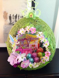 Tinkerbell string Easter basket I made for my daughters friends