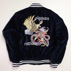 Classic Design Vintage Japan Japanese Yokosuka Eagle Hawk Bird Dragon Ryu Embroidered Embroidery Velour Velvet Velveteen Souvenir Sukajan Flight Bomber Jacket ( Size : L ) - Japan Lover Me Store