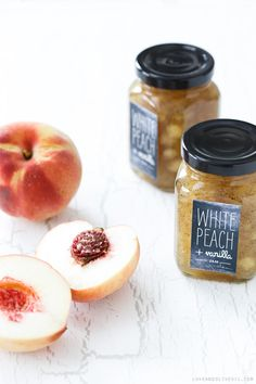 White Peach & Vanilla Jam Recipe + Free Printable Chalkboard Style Labels - Homemade Food Gift Idea