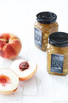 White Peach & Vanilla Jam Recipe + Free Printable Chalkboard Style Labels - Homemade Food Gift Idea