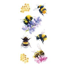 Paper House Productions Bees Stickers - Best Picture For tattoo minimaliste For Your Taste You are looking for something, and it is going - Bumble Bee Tattoo, Honey Bee Tattoo, Bee And Flower Tattoo, Bee On Flower, Bee Sketch, Bee Painting, Cute Bee, Bee Art, Art Inspo