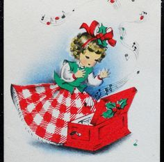 50s CUTE Curly Hair LITTLE GIRL in Gingham Dress VINTAGE Christmas GREETING CARD #Norcross