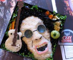 bento japanese food lunch box creative ozzy rice rock guitar