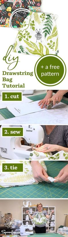This DIY Drawstring Backpack is a Cinch! | Video Tutorial + Free Pattern - Spoonflower-DIY-Drawstring-PatternIf you're looking for a functional and stylish way to transport small items, look no further than the DIY drawstring backpack. It sews up quick thanks to this free PDF pattern, and only uses 1 yard of fabric and some drawstring. We can't stop making them in our Lightweight Cotton Twill! #diy #sewing #easydiy #sew #tutorial #sewingpattern #ilovesewing #backpack #easy tutorial