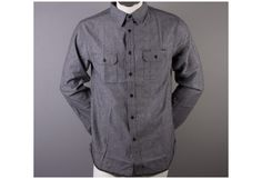 HUF  CHAMBRAY WORKSHIRT BLACK