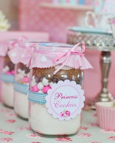 "Princess Cookies: ""We created jars of 'Princess Cookies' as the party favors, mixes to be made at home,"" Louise says. Source: Sunshine Parties"