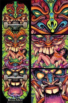 Aztec and Monster Face Totem Themed Skateboard Designs Skateboard Deck Art, Skateboard Design, Totem Pole Tattoo, Tiki Faces, Pinstripe Art, Tiki Totem, Mask Drawing, Tiki Mask, Graffiti Designs
