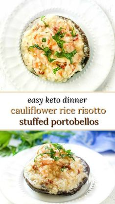 These cauliflower rice shrimp risotto stuffed portobello mushrooms make for a delicious keto dinner. This decadent yet healthy dinner can be done in less than 30 minutes. One low carb risotto stuffed portobello has only 1.1g net carbs and 208 calories! #portobellomushrooms #lowcarb #keto #cauliflowerrice #risotto #shrimp #easydinner #healthydinner