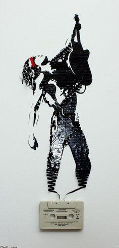 "Bon Jovi, using an original ""Slippery When Wet"" cassette tape (and red paint for the bandana)."