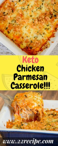 This Keto Chicken Parmesan Casserole is a super easy dinner recipe that's bursting with savory,