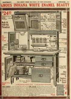 Famous Indiana White Enamel Beauty - anatomy of a Hoosier cupboard.