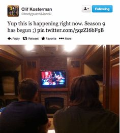 Clif via Twitter (Jared & Jensen watching 9x01 I Think I'm Gonna Like It Here)