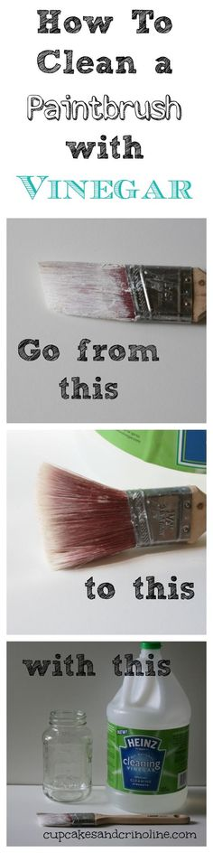 Painting tips: How To Clean a Dry and Crusted Paintbrush Easily with Vinegar Diy Cleaning Products, Cleaning Solutions, Cleaning Hacks, Cleaning Vinegar, Do It Yourself Baby, Do It Yourself Furniture, Tips & Tricks, Paint Stain, Chalk Paint