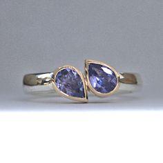Tanzanite pear silver and gold ring