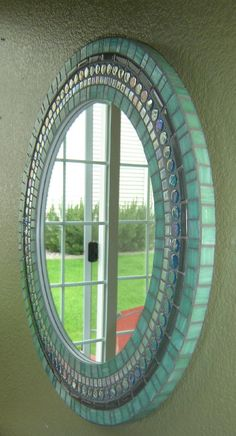 Round Wall Mirror Green Blue Gray Mosaic by opusmosaics on Etsy Stained Glass Mirror, Mirror Mosaic, Mirror Tiles, Round Wall Mirror, Glass Mosaic Tiles, Round Mirrors, Mosaic Art, Mirror Art, Mosaic Designs