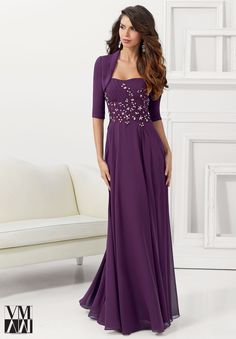 Evening Gowns / Dresses Style 71108: Chiffon with Embroidered and Beaded Appliques http://www.morilee.com/socialocassion/vmcollection/71108