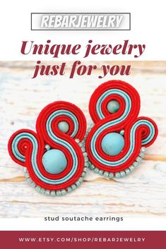 Small charming stud earrings made with the soutache embroidery technique using red and blue soutache braid and turquoise balls. casual button earrings for woman, earrings for work or school, gift for her