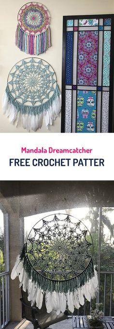 Mandala Dreamcatcher Free Crochet Pattern #crochet #yarn #crafts #homemade #handmade #homedecor #diy