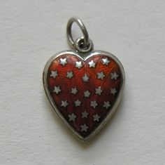 Vintage Red Brown Orange Enameled Stars Sterling Heart Charm.
