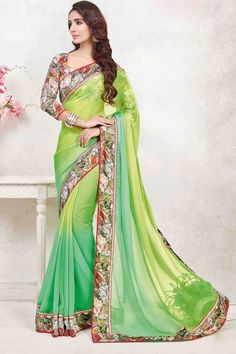 Green Georgette Saree with art silk Blouse online  http://www.andaazfashion.co.uk/womens/sarees