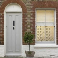 Street facing window with decorative design