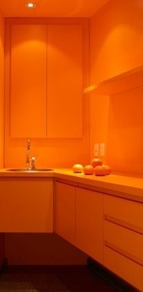 Orange -  My husband would kill me...he said i can have one orange room!! Haha. :) http://baenk.com/orange/