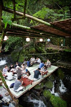 From June to September, Kibune's restaurants build covered platforms out over the river where visitors can enjoy a meal as the water flows beneath them. Known as kawadoko, dining on the platforms is a relaxing experience and an excellent way to escape the summer heat. Photograph by Michelle Wiese