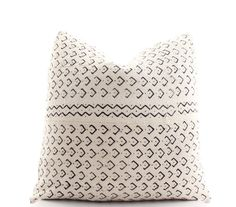 African White Mudcloth Pillow Cover Boho Pillow by BohoPillow