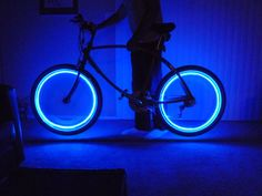 Battery powered rim lights for bicycle.  Instructable.