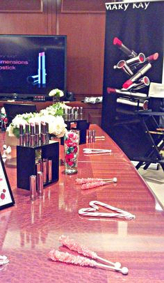 The pretty holiday set up from the Mary Kay® True Dimensions™ Lipstick launch event with magazine editors.