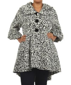 This Black & White Filigree Flare Button-Up Jacket - Plus by Come N See is perfect! #zulilyfinds