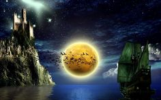 Amazing fantasy moonscape showing a pirate ship and castle with a flock of birds flying over the full moon. Ocean Wallpaper, Star Wallpaper, Widescreen Wallpaper, World Of Fantasy, Fantasy Art, 1366x768 Wallpaper, Thunder And Lightning, Moon Pictures, Fantasy Castle