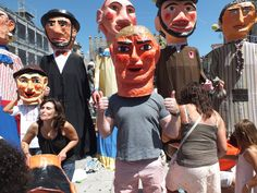 One of the cabecudos worn by children - giant heads made of papier mache