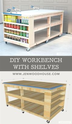 Learn how to build a DIY Mobile Workbench with Shelves and storage for quarts of paint and stain. Add a clamp track and magnetic strips to hold stray bits. #WoodworkingDIY