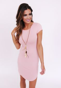 Pink Fitted Dress With Feather Necklace - Dottie Couture Boutique