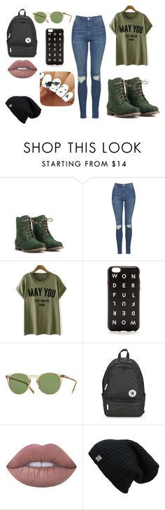 """""""GrEeN"""" by kennajayce on Polyvore featuring JJ Footwear, Topshop, J.Crew, Oliver Peoples, Converse and Lime Crime"""