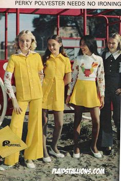 Children's fashion 1970's : hems lengthened for girls in the 1970's  the  silhouette became shirt dress, and more belts were used. At the beginning of the 70's pants were worn more than dresses. Comfort became important, girls also wore pantsuits., sweater over button up {1970's}  I remember wearing this very pant suit and dress.
