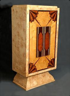 European Art Deco Bar Cabinet with Alaska Finish Burl Elm Veneering & Marquetry.