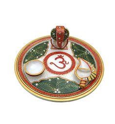 Marble Puja Thali #MarbleHandicrafts #CraftShopsIndia